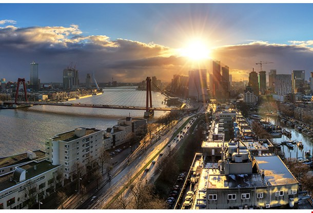 Beautiful Sunset Panorama Of The City Of Rotterdam