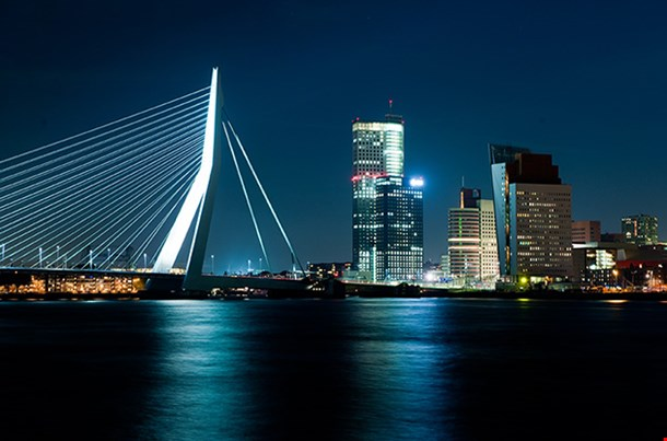The Illuminated Skyline Of Rotterdam