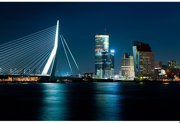 The Illuminated Skyline Of Rotterdam