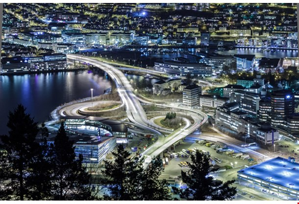 Car Isolated At Night Bergen, Norway