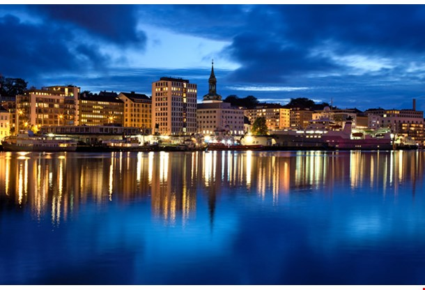 Night Panorama, Bergen City In Norway
