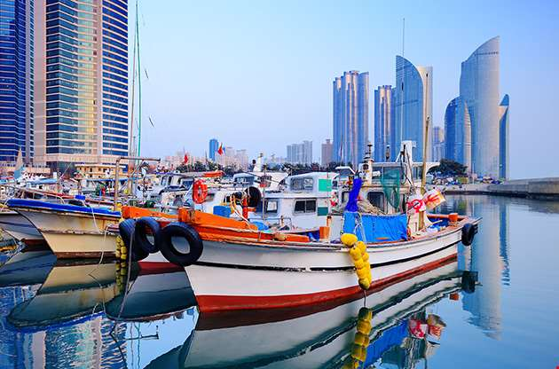 boats-at-haeundae-busan-south-korea-Boats At Haeundae Busan South Korea