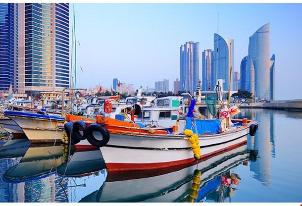 Boats At Haeundae Busan South Korea