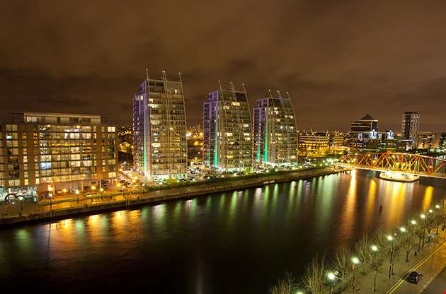 city-at-night-salford-quays-in-manchester-City At Night Salford Quays In Manchester