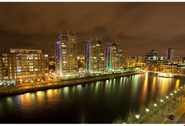 City At Night Salford Quays In Manchester