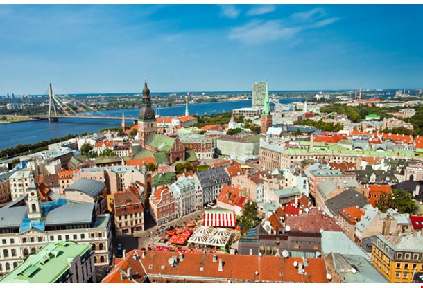 The Panoramic View Of City Riga Latvia