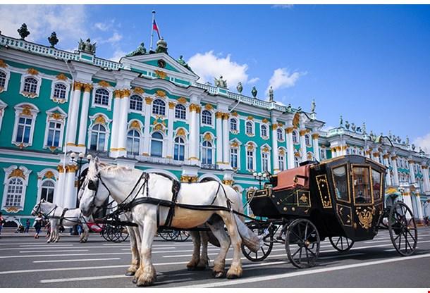 Horse Carriage Near Hermitage In Saint Petersburg