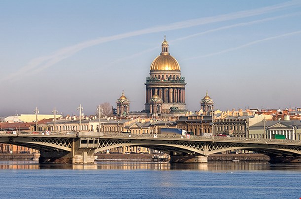 Neva River Isaakievsky Cathedral Saint Petersburg