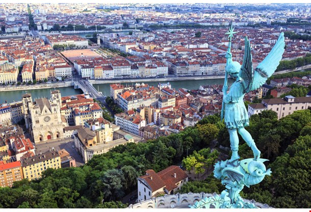 Famous View of Lyon from the top of Notre Dame De Fourviere