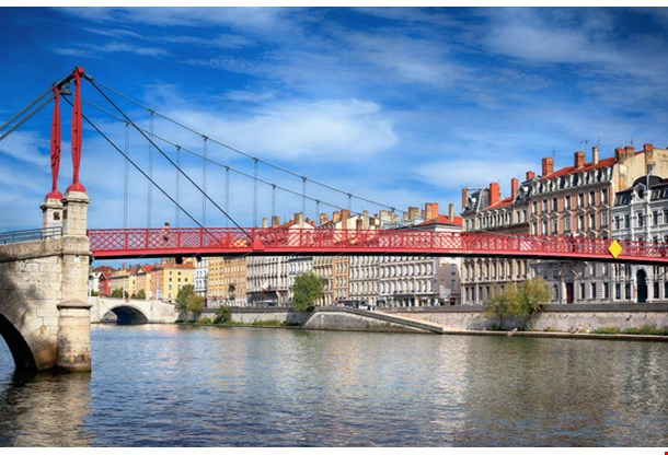 Red Footbridge in Lyon with Saone River