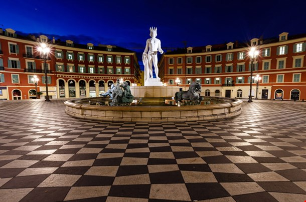 The Fontaine Du Soleil on Place Massena  in the  Morning