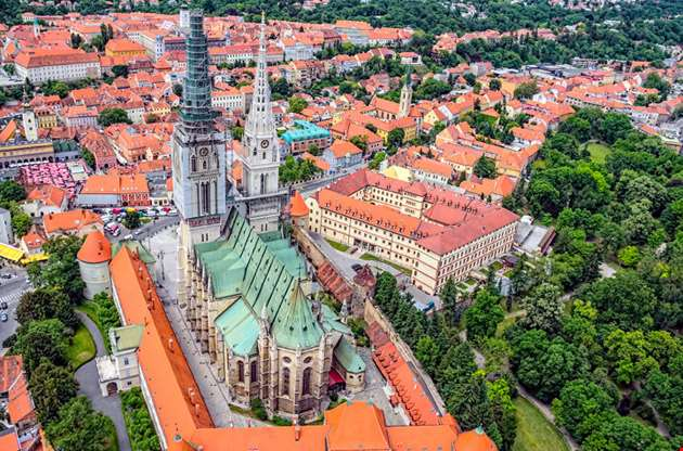 zagreb-cathedral-with-archbishops-palace-Zagreb Cathedral With Archbishops Palace