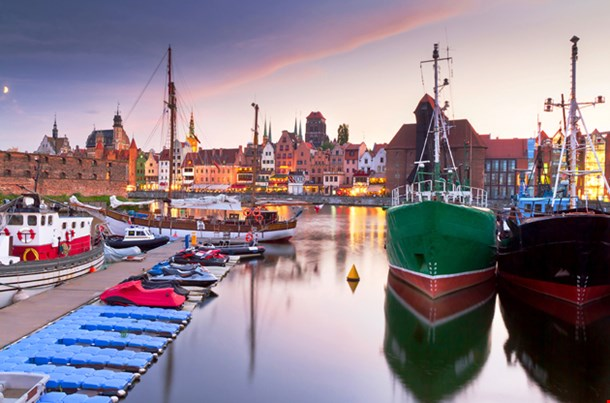 Harbor At Motlawa River With Old Town Of Gdansk, Poland