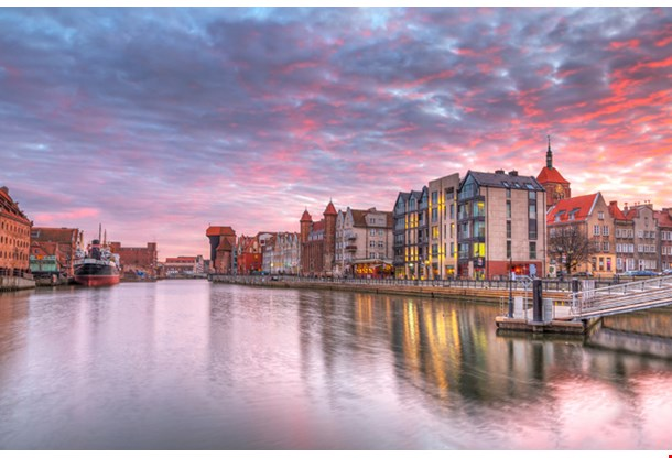 Sunset In Old Town Of Gdansk At Motlawa River Poland